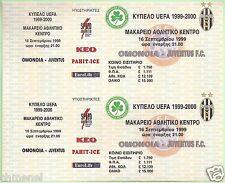 OMONOIA NICOSIA CYPRUS vs JUVENTUS FC UEFA 1999-2000 FOOTBALL TICKET PAIR MINT