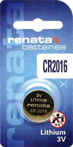 1 x Renata CR2016 Batteries, Lithium Battery 2016   Shipped from Canada