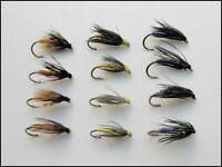 Wet Trout Flies, 12 Pack Partridge & Orange, Snipe & Purple, Yellow & Dove 14/16