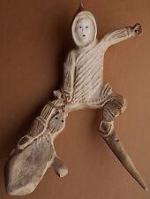 Vintage Inuit Carving Eskimo Carved Moose or Caribou Antler Figure Seal Hunter