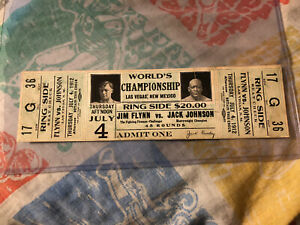 Vintage 1912 Full Boxing Ticket Jack Johnson Vs Fireman Jim Flynn World Champion