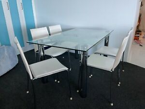 Nick Scali glass chrome extendable dining table 6 white leather chairs