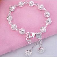 Fashion Jewelry Women Silver Plated Hollow Bead Chain Bracelet Bangle