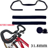 MTB Bicycle Butterfly Handlebar 31.8*620mm Aluminum Fixed Gear Bar With Sponge