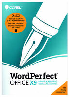Corel WordPerfect Office X9 Home & Student 2-PC WPOX9HSEFMBAM - New Retail Box