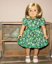 """Handmade Doll Clothes fits/for 18 in. American Girl ~ """"Miss Lucky"""" Green Dress"""