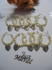 """10 Cream Wine Glass charms  """"heart charm with daisy pattern""""   Wedding Favour"""