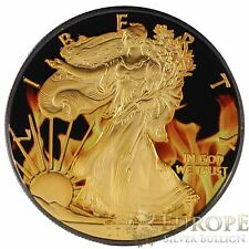 CoA 2015 1 Oz Ounce Silver American Eagle Coin .999 Ruthenium Gilded Colorized