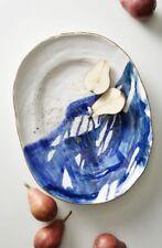 Anthropologie  Mimira Stoneware Large Serving Platter Sapphire 18.5X14.5 New