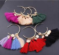 Women Fashion Bohemian Earrings Long Tassel Fringe Boho Dangle Jewelry