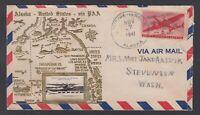 USA 1941 Crosby Cachet AIRMAIL Cover DUTCH HARBOUR Alaska to Washington