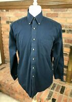 Brooks Brothers 346 Long Sleeve Button-Down Cotton Shirt ~ Mens M / Navy Blue