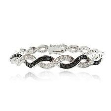 925 Silver Black & White CZ Infinity Swirl Bracelet