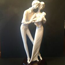 "Huge Alabaster A. Santini Sculpture Statue Figure COUPLE w BABY Signed 17""Tall"
