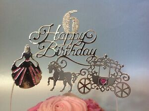 GOLD Princess Birthday Cake Decoration  Card Horse & Carriage cake Topper
