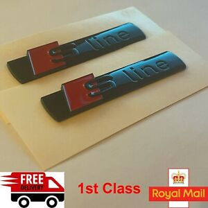 2 x AUDI S-LINE WING Gloss Black Emblem Badge For A1 S1 A3 S3 RS