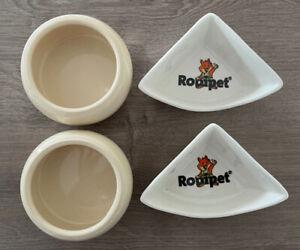 2 Näpfe und 2 Rodipet-Hecktoiletten für Hamster, weiß/ beige