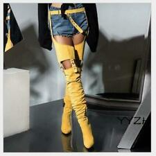 Womens Ladies Winter Thigh High Boots Stirrup Belted Block High Heels Sexy Shoes