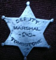 1 x DEPUTY MARSHAL TOMBSTONE AMERICA PIN ON CAST METAL BADGE APPROX 5 CM SEE PIC