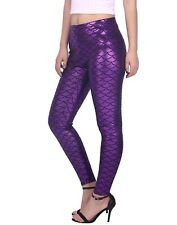 Sexy Shiny Mermaid Leggings Hot Metallic Glitter Fish Scale Stretch Tight Pants