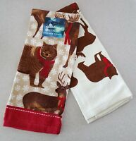 NEW St Nicholas Square SET of 2 Hand Towels BEAR DEER Christmas Hunting #321617