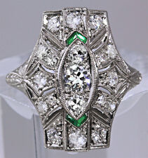 Vintage Antique 1.2ct Diamond Emerald Platinum Art Deco Engagement Cocktail Ring