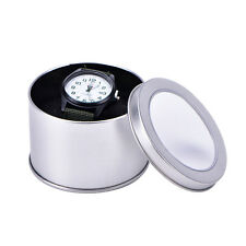Silver Round Metal Jewelry Watch Box Display Case With Cushion Watch Box HolderW