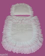 Kinderwagenset Weiß Rosa Kinderwagenwäsche Garnitur  für Wiege Kissen Mädchen