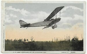 (5681) Old Postcard  Very Old  U.S. Army AEROPLANE  Off on a Scouting Trip