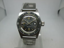 RARE VINTAGE TECHNOS SKYDIVER 200M DATE BIG CROWN SS AUTOMATIC LADIES WATCH