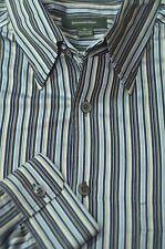 Ermenegildo Zegna Men's Gray Black & Gold Stripe Cotton Casual Shirt XL XLarge