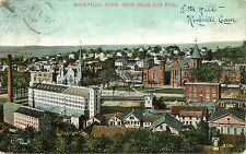 Vintage Postcard; Rockville Ct View from Fox Hill, Tolland County, Posted 1909