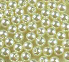 200Pcs Cream Acrylic Round Pearl Spacer Loose Beads 6mm