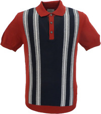 Ben Sherman Navy/Red Knitted Striped Mod Polo Shirt