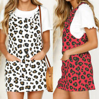 Summer Women Leopard Mini Dress Sleeveless Pinafore Dungaree Party Sundress Plus