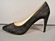 "CHANEL BLACK CAP TOE PLATFORM ""CC"" CLASSIC SUEDE POINTY TOE PUMPS 38/7.5 NEW"