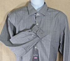 NWT The Savile Row Button Front Shirt Black White Gingham Flip Cuff Sz XL 17