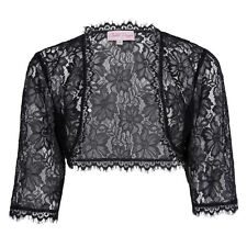 Women's Wedding Bridal Bridesmaid 3/4 Sleeve Lace Shrug Bolero jacket Cardigan