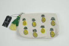 Women's Woven Type Textured Beaded Tassel Zipper Pineapple Clutch Bag Purse