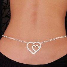 sexy chaîne pour le corps ventrale Bikini Strass hueftkette cœur coeur double 3