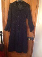 H&M Ladies Full Length Vintage Style Wool Coat, Fitted Flared, Black Marl 12 14