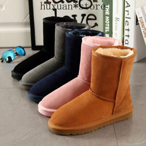 Womens Snow Boots 100% Genuine Cowhide Leather  Warm Winter Boots Woman Shoe HOT