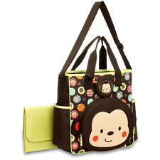 Baby Boom Monkey Face Tote Brown Diaper Bag Handy Organizer w Pacifier Holder