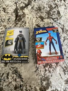 BATMAN & spiderman-INFLATABLE BLOWUP INFLATE 23 INCHES TALL DC COMICS SUPERHERO