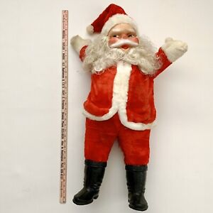 """Vtg 36"""" SANTA CLAUS Plush Rubber/Plastic Face & Boots NEEDS CLEANING/FLAWS"""