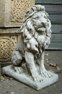 Garden Lion Statue Ornament Grey Frost Proof Outdoor Sitting Figure gate post