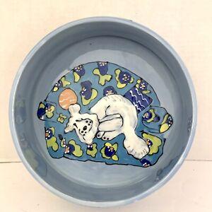 "Handpainted SNOODLES Cat & Dog 7 1/2"" Bowl Dish Debby Carman Coynes 2002 Blue"