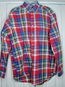 men's Tommy Hilfiger ls cotton shirt M multicolor plaid cotton madras look