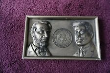 1964 Abraham Lincoln John F Kennedy Plastic Plaque Angelo Inc Seal of President