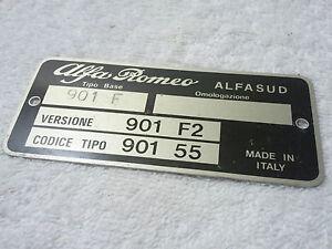 Alfa Romeo ALFASUD ENGINE BAY IDENTIFICATION PLATE, NOS